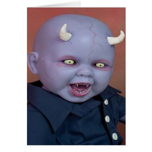 Creepy Devil Baby Doll Greeting Cards Zazzle