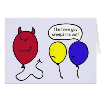 Creepy Devil Balloon Greeting Card