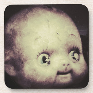 Creepy Doll Beverage Coaster