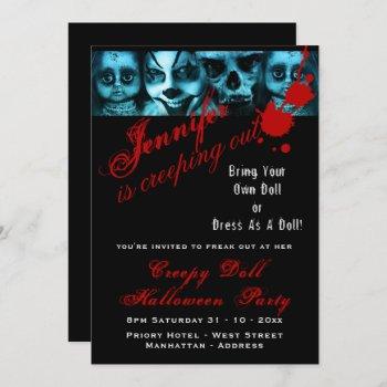 Creepy Doll Costume Party Halloween Evil Scary Invitation