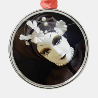 Creepy Doll Face Silver-Colored Round Decoration