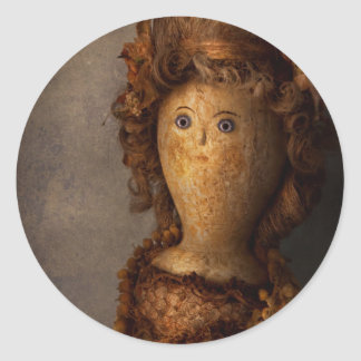 Creepy - Doll - Matilda Round Stickers