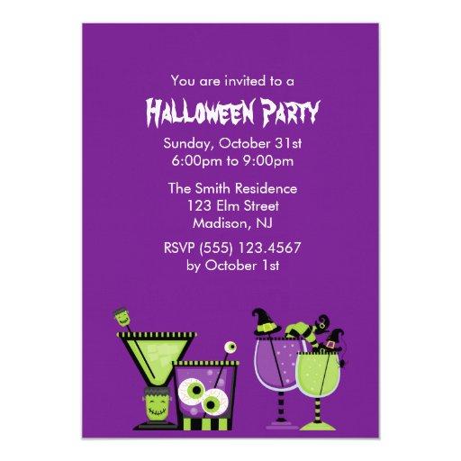 Creepy Drinks Halloween Party Card
