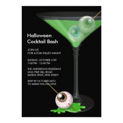 Creepy Eyeball Cocktail Halloween Party Invitation