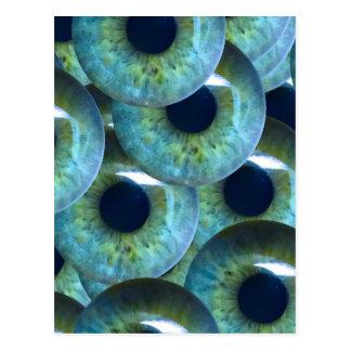 creepy eyeballs postcard