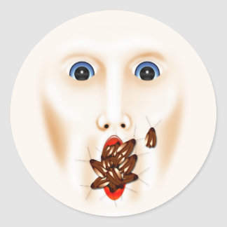 Creepy Face With Roaches Mouth Gross Halloween Classic Round Sticker