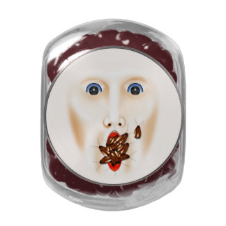 Creepy Face With Roaches Mouth Gross Halloween Glass Candy Jars