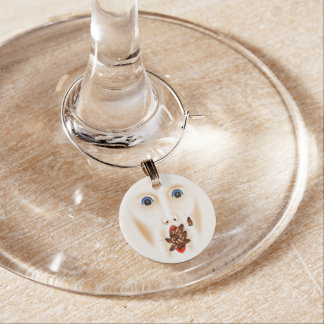 Creepy Face With Roaches Mouth Gross Halloween Wine Glass Charm