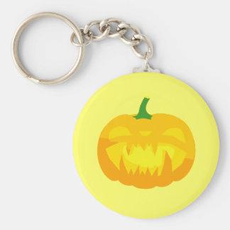 Creepy Fanged Jack-O-'Lantern Basic Round Button Keychain