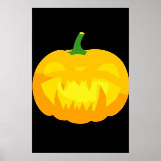Creepy Fanged Jack-O-'Lantern Poster