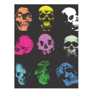 Creepy Fluo Skulls Postcard