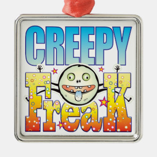 Creepy Freaky Freak Silver-Colored Square Decoration