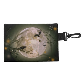 Creepy Full Moon with Birds Accessory Bags