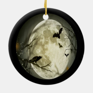 Creepy Full Moon with Birds Ceramic Ornament