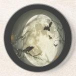 Creepy Full Moon with Birds Coasters