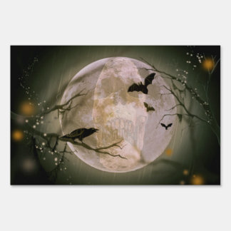 Creepy Full Moon with Birds Lawn Sign