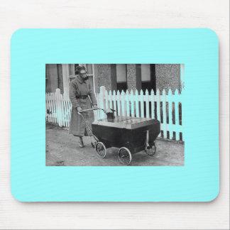 Creepy Gasmask Woman War Photography Mouse Pad