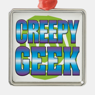 Creepy Geek v3 Silver-Colored Square Decoration
