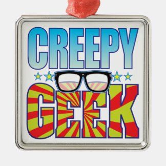 Creepy Geek v4 Silver-Colored Square Decoration