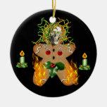 Creepy Gingerbread Man Ceramic Ornament