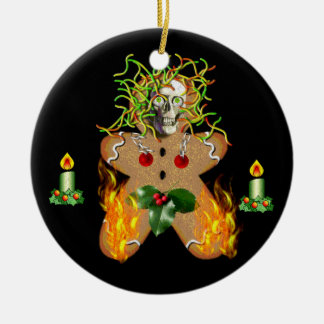 Creepy Gingerbread Man Double-Sided Ceramic Round Christmas Ornament