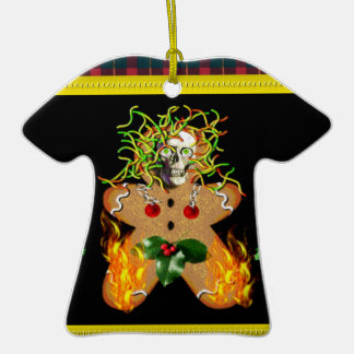 Creepy Gingerbread Man Double-Sided T-Shirt Ceramic Christmas Ornament