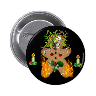 Creepy Gingerbread Man Pinback Button