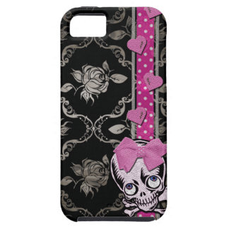Creepy Girl Skull with Pink Bow on Black Damask iPhone 5 Covers