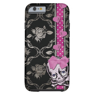 Creepy Girl Skull with Pink Bow on Black Damask Tough iPhone 6 Case
