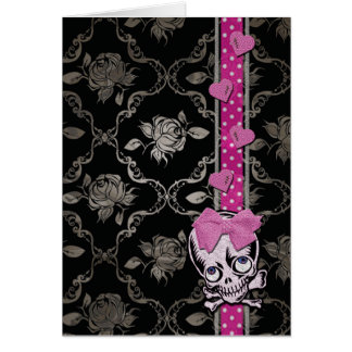 Creepy Girl Skull with Pink Bow on Black Damask Ed Greeting Card
