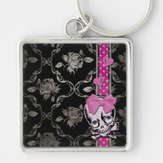 Creepy Girl Skull with Pink Bow on Black Damask Key Chain