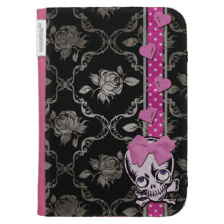 Creepy Girl Skull with Pink Bow on Black Damask Kindle 3G Cover