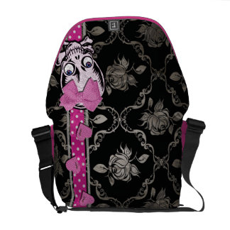 Creepy Girl Skull with Pink Bow on Black Damask Messenger Bag