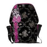 Creepy Girl Skull with Pink Bow on Black Damask Courier Bag