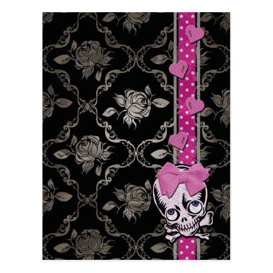 Creepy Girl Skull with Pink Bow on Black Damask Postcard