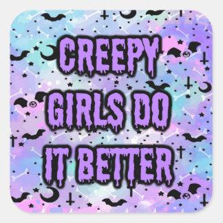 Creepy Girls Square Sticker