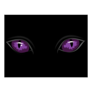 Creepy Glossy Purple Cat Eyes in the Dark of Night Poster