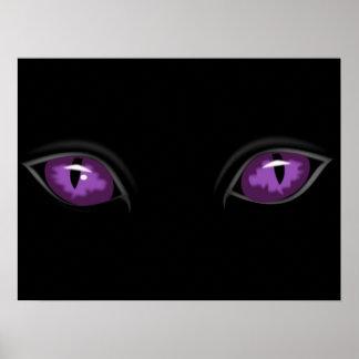 Creepy Glossy Purple Cat Eyes in the Dark of Night Poster
