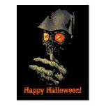 Creepy Glowing Eyes Halloween Card Postcard
