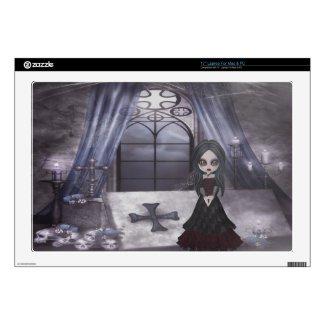 Creepy Goth Girl in Crypt Laptop Skin musicskins_skin