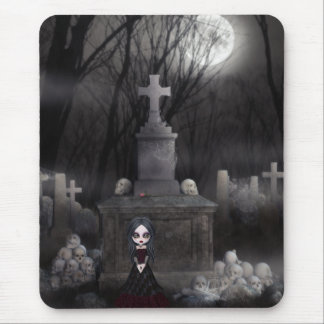 Creepy Goth Girl in Graveyard Mousepad
