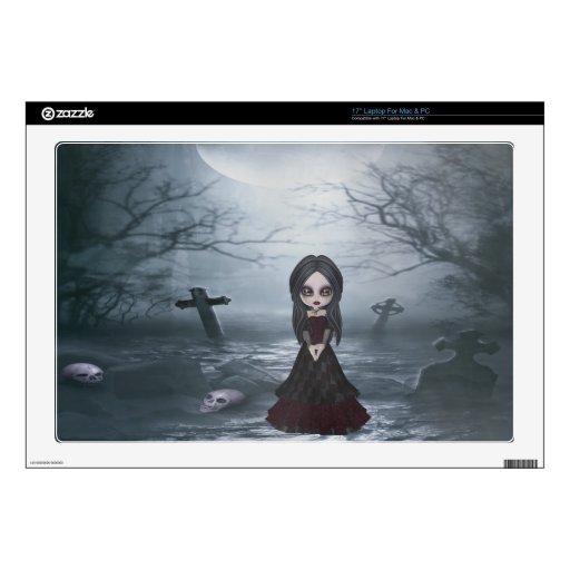 Creepy Goth Girl in Spooky Graveyard Laptop Skin