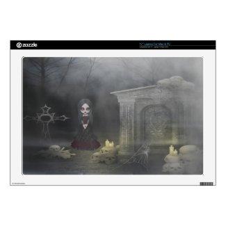 Creepy Goth Girl in Spooky Graveyard Laptop Skin musicskins_skin