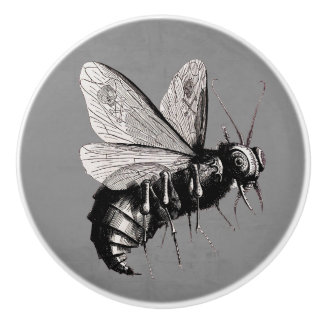 Creepy Gothic Bee Skull Wings Insect Ceramic Knob