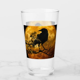 Creepy Gothic Black Raven and Moon Halloween Glass