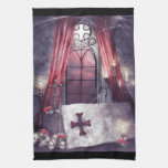 Creepy Gothic crypt with candles & skulls Kitchen Towels