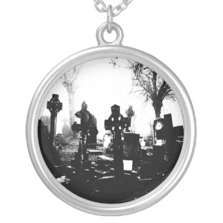 Creepy Gothic Graveyard Silver Plated Necklace