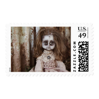 Creepy Gothic Porcelain Doll Victorian Goth Stamp
