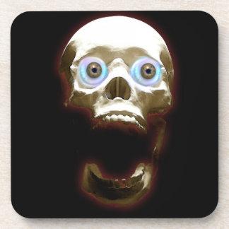 Creepy Gothic Screaming Skull Art Coasters