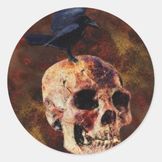 Creepy Gothic Skull and Crow - Halloween Horror Classic Round Sticker